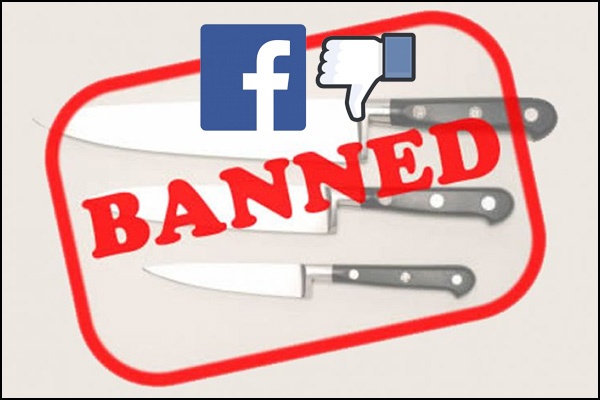 Knifewear, a company that sells premium kitchen cutlery, was banned from advertising on Facebook.