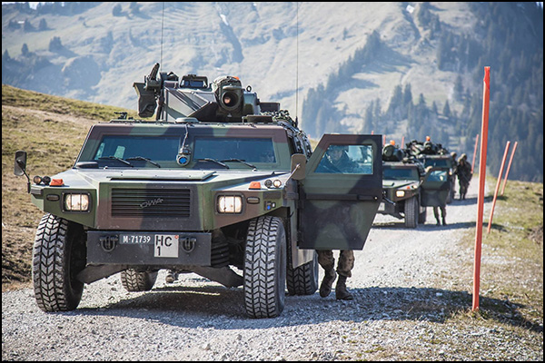 Convoy of Mowag Eagles moving Exploration Battalion 2-a forward.