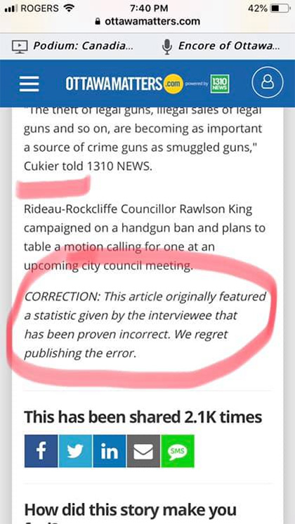 Ottawa Matters rapid retraction in the article itself.